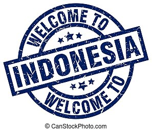 welcome to Indonesia blue stamp