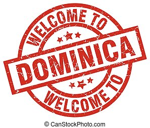 welcome to Dominica red stamp