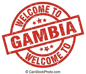 welcome to Gambia red stamp