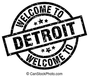 welcome to Detroit black stamp