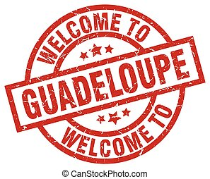 welcome to Guadeloupe red stamp