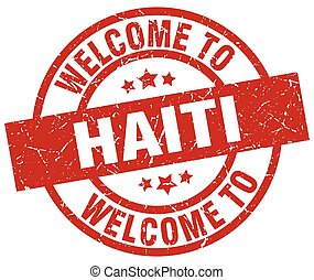 welcome to Haiti red stamp