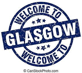 welcome to Glasgow blue stamp