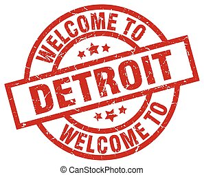 welcome to Detroit red stamp