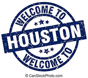 welcome to Houston blue stamp