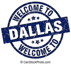 welcome to Dallas blue stamp