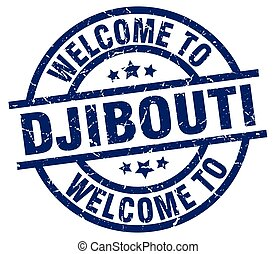 welcome to Djibouti blue stamp