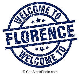 welcome to Florence blue stamp