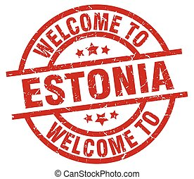 welcome to Estonia red stamp
