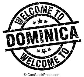 welcome to Dominica black stamp