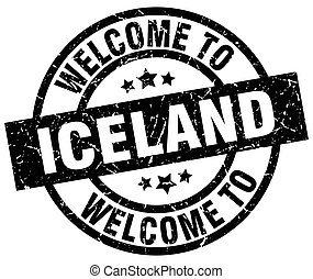 welcome to Iceland black stamp