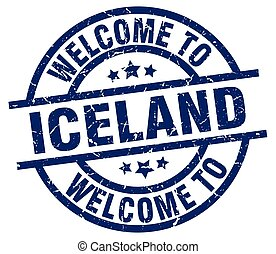 welcome to Iceland blue stamp