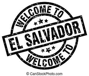 welcome to El Salvador black stamp