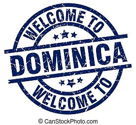 welcome to Dominica blue stamp