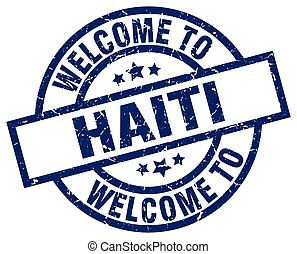 welcome to Haiti blue stamp