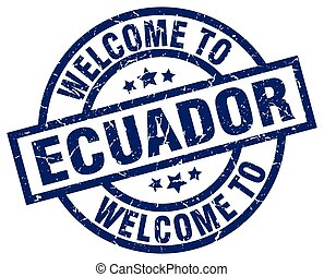 welcome to Ecuador blue stamp
