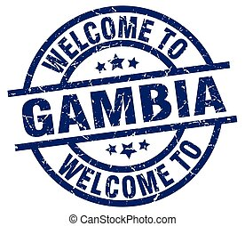 welcome to Gambia blue stamp