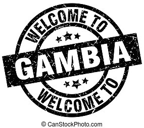 welcome to Gambia black stamp