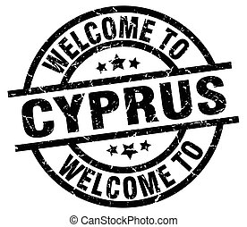welcome to Cyprus black stamp