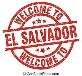 welcome to El Salvador red stamp