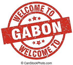 welcome to Gabon red stamp