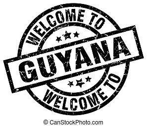 welcome to Guyana black stamp