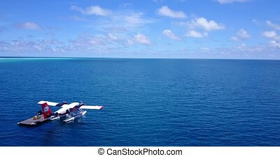 v06381 Aerial flying drone view of Maldives white sandy...