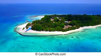 v06365 Aerial flying drone view of Maldives white sandy...