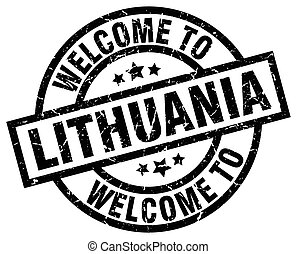 welcome to Lithuania black stamp