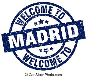 welcome to Madrid blue stamp