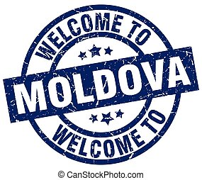 welcome to Moldova blue stamp
