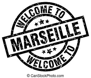 welcome to Marseille black stamp