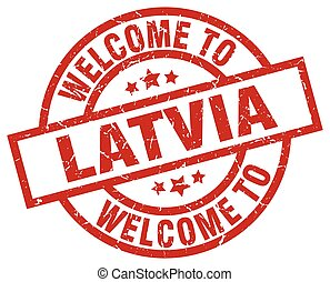 welcome to Latvia red stamp