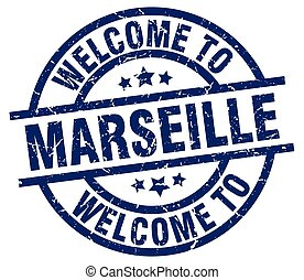 welcome to Marseille blue stamp