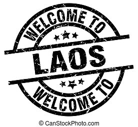welcome to Laos black stamp