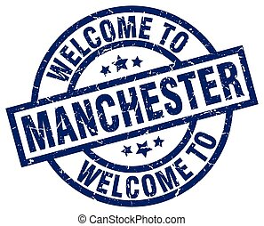 welcome to Manchester blue stamp