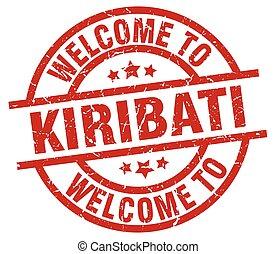 welcome to Kiribati red stamp