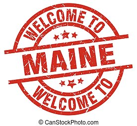 welcome to Maine red stamp