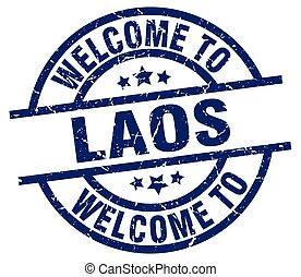 welcome to Laos blue stamp
