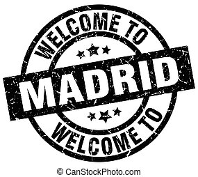 welcome to Madrid black stamp