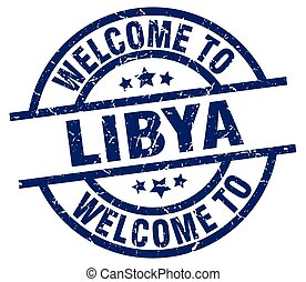 welcome to Libya blue stamp