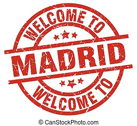 welcome to Madrid red stamp