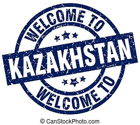 welcome to Kazakhstan blue stamp
