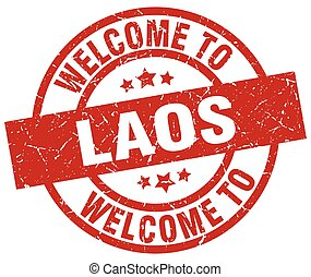 welcome to Laos red stamp