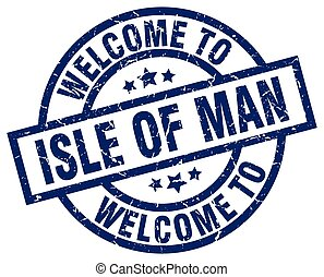 welcome to Isle Of Man blue stamp