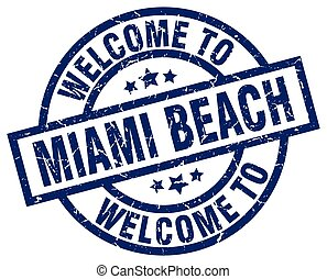 welcome to Miami Beach blue stamp