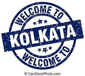 welcome to Kolkata blue stamp