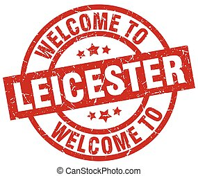 welcome to Leicester red stamp