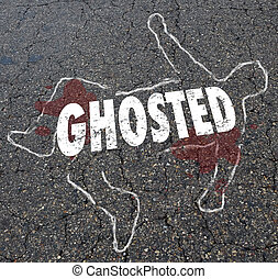 Ghosted Chalk Outline Dead Body Illustration