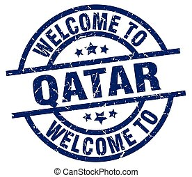 welcome to Qatar blue stamp
